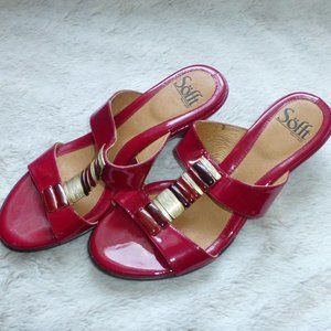 Sofft Red Patent Leather Slide On Sandals 7.5 - 8M
